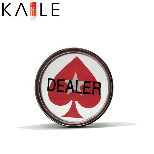 Acrilico Texas Hold em poker Dealer chip con anello in gomma Nera
