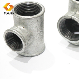 ASTM 2 Inch Equal Tee Galvanized Malleable Iron Pipe Fittings Female Hot Dip Galvanized Hose Joint And Line Plumbing Reducer
