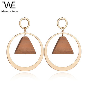 Exclusive Original Design Foreign Trade Hot Sell Women Geometry Trapezoid Alloy Wood Earrings Jewelry
