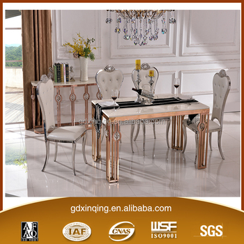 TH366 Hot Sale Stainless Steel Modern Marble Dining Table Set Part 58
