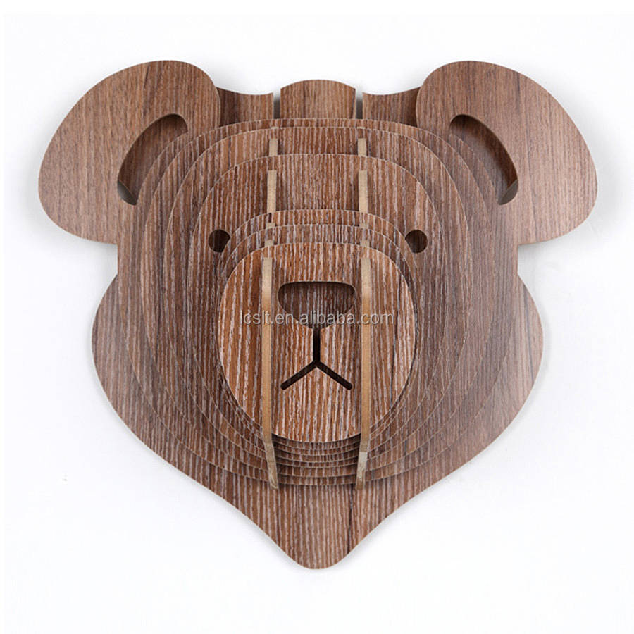 2017 Chinese 3d wooden teddy bear head, hanging wall decoration
