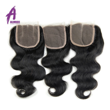 Hand made bleached knot invisible human hair piece, Unprocessed Raw Brazilian virgin hair material lace closure and frontal