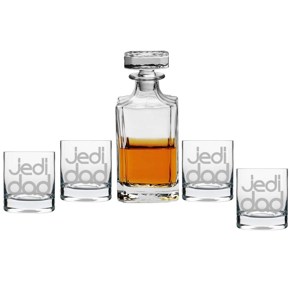 Jedi Dad Decanter with Engraved Rocks Glasses, Set of 5