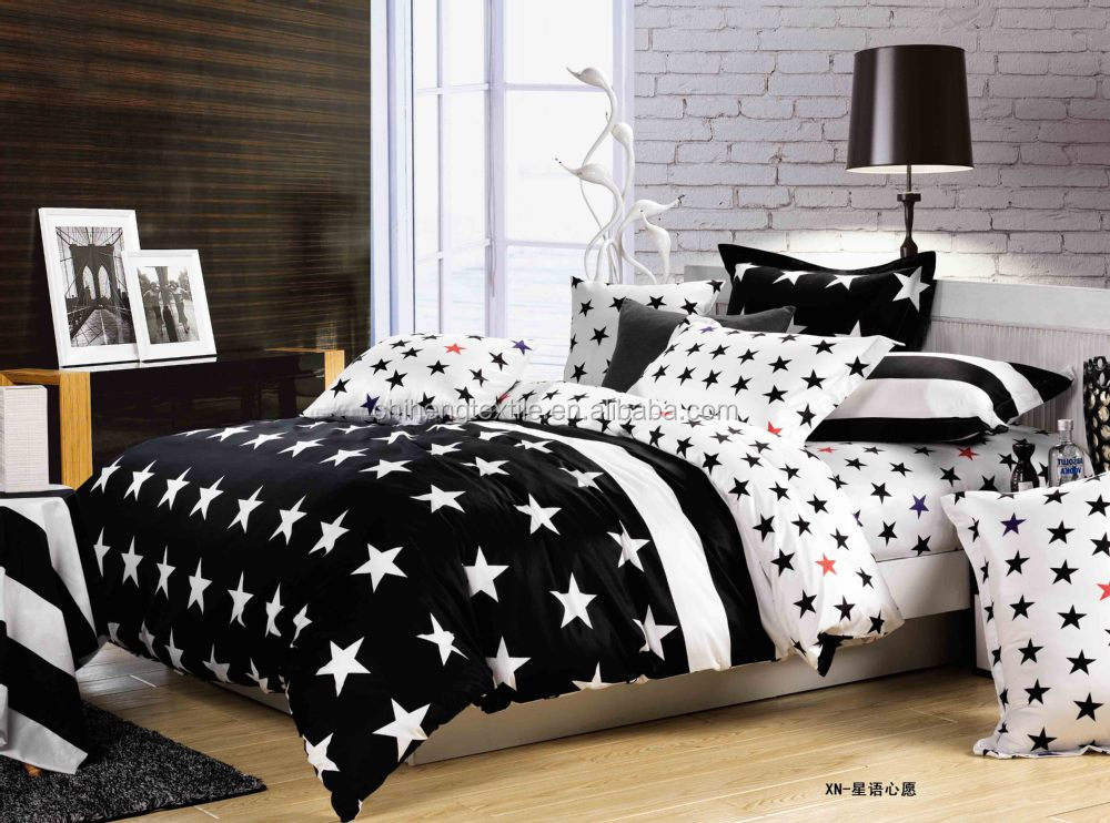 Embroidery Design Black And White Star Bedding Sets Bed Sheet Set