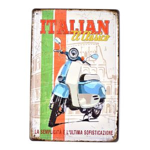 Italian Scooter Vintage Retro Metal Tin Signs Embossed Sign Man Cave Home Restaurant Garage Decor