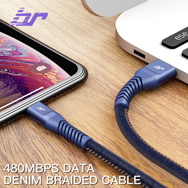 High quality durable cloth denim cell charger  10 ft micro usb android fast charging cable for mobile devices 0.3-3m