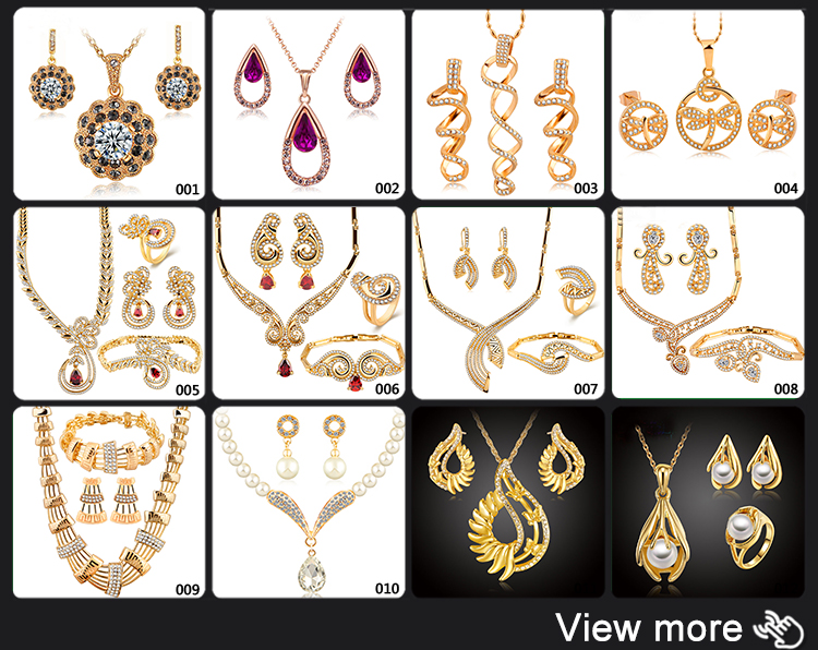 Wholesale 2018 Costume African Dubai Fshion Bridal Wedding Women Diamond Plated 18K Gold Necklace Jewelry Sets