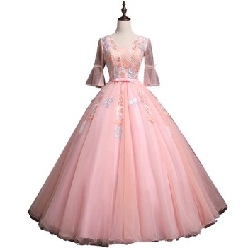 Hq183 See Through Long Sleeves V Neck Prom Gowns Evening Dress Shinny Organza Ball Gown Night Party Wear Evening Prom Dress Buy Prom Gaun Malam Malam Gaun Malam Pesta Prom Gaun Prom Gaun