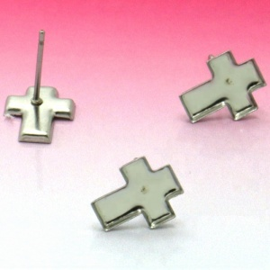 Blank Stainless Steel Stud Earrings Bases Cross Bezel Pins Back Cameo Cabochons Earrings post DIY Jewelry Findings