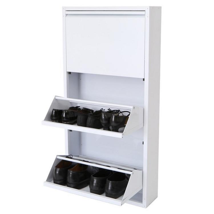 Mirror Steel Shoe Rack Design Sliding Door Metal Chip Board Shoe Cabinet  Modern 3 Door Shoe