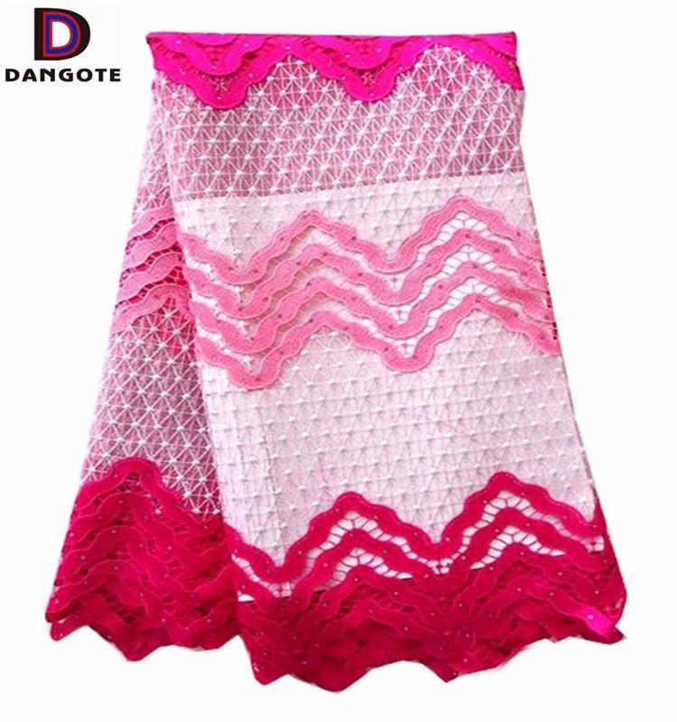 Nueva fushia rebordeó la tela del cordón/tela africana alta calidad ...