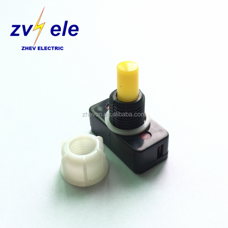 latching type reading lamp switch with yellow mini push button 3A 125 Volt 10mm diameter