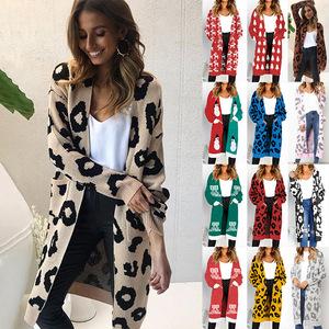 small MOQ fashion women long 17colors christmas sweater leopard cardigan 267b74dd9