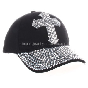 Crystal Case Rhinestone Cross Bling Adjustable Cotton Baseball Cap