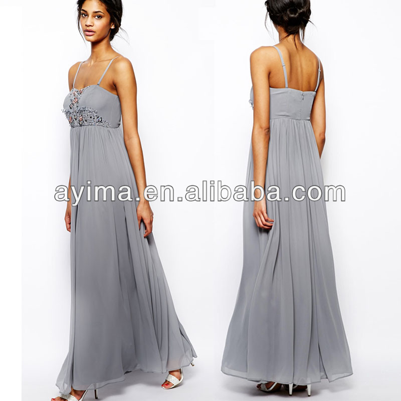 Hot Selling Elegant Grey Maxi Dress Classy Ladies Prom Dresses 2014 ...