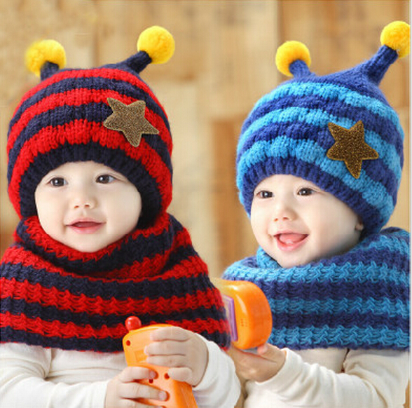 Wholesale Newest Boy Autumn Winter Candy Color Cute Warm Hats Children Thick Turtleneck Earmuffs Line Beanie