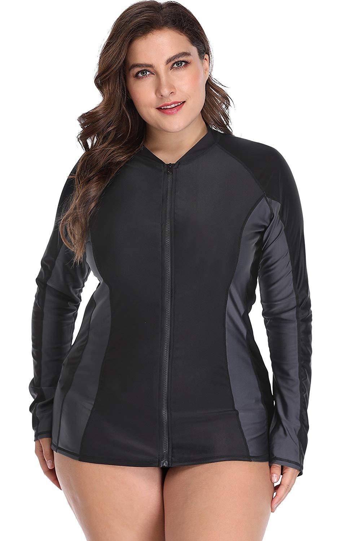 4b03f78090422 ATTRACO Womens Plus Size Long Sleeve Rash Guard Top Zipper Sufing Swim Shirt