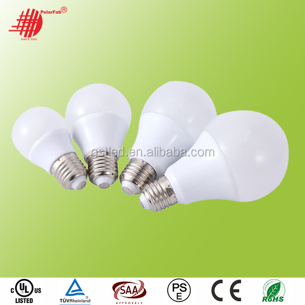 High Efficiency 5 Watt LED Bulb 12V 24V 85-265V E27 E26 E14 B22 LED Globe bulb, LED Home Lighting A60 led bulb, 3 years Warranty