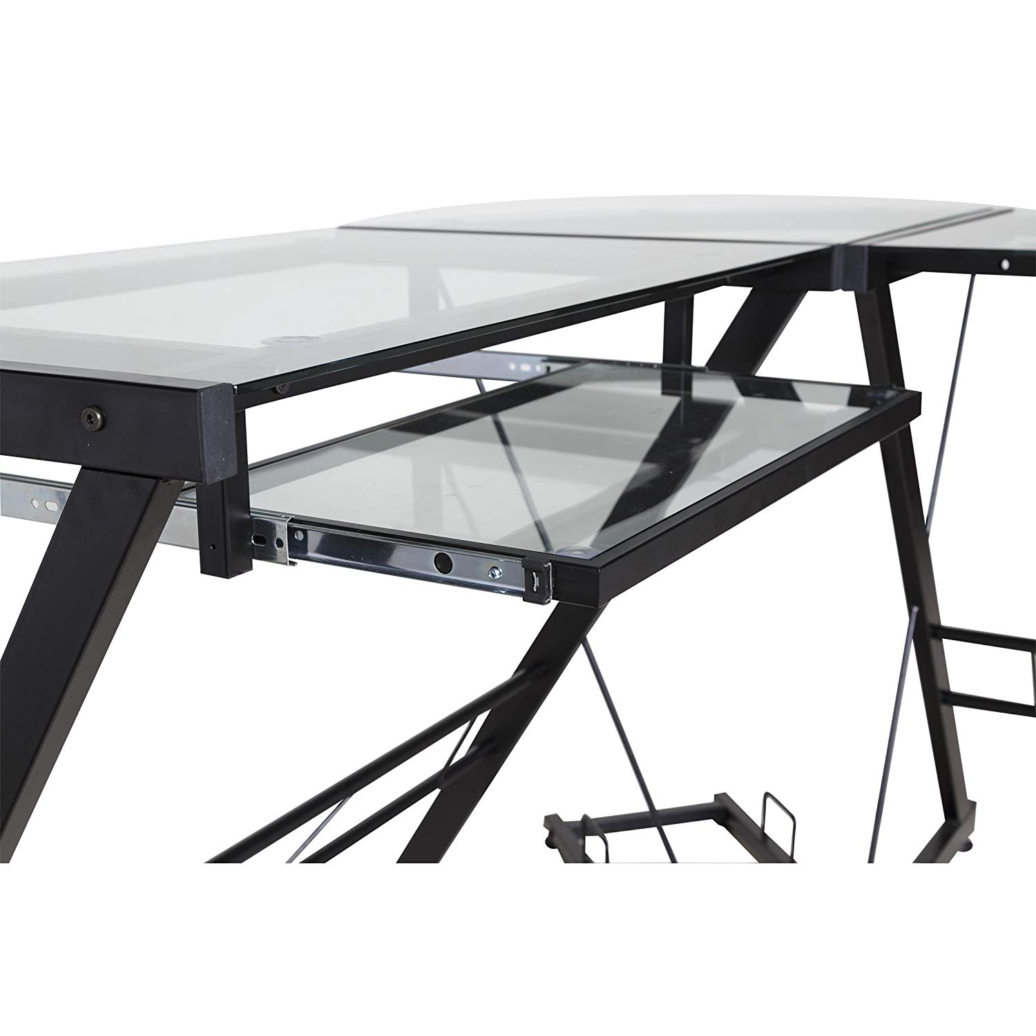 MyEasyShopping 50-JN110500 Black and Clear Glass L-shape Desk with Pull-out Keyboard Tray Desk L Glass Shape Computer Office