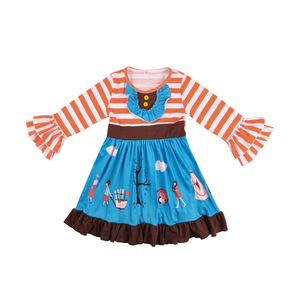 High quality children clothing frock design ruffle dress kids boutique outfits baby dress