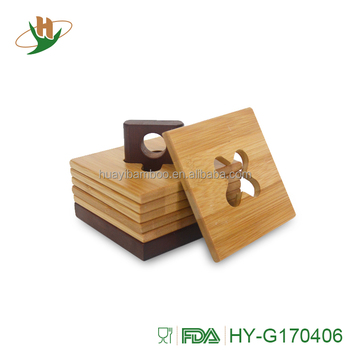 Custom Coasters Bamboo For Drinks With Holders Square 7 Piece Set