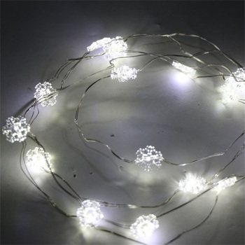 Top Sale Super Bright 1m 2m 3m Cold White Snowflake Shape Led Copper Wire String Lights