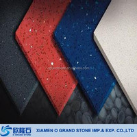 Engineered stone crystal shimmer quartz tiles with many colors