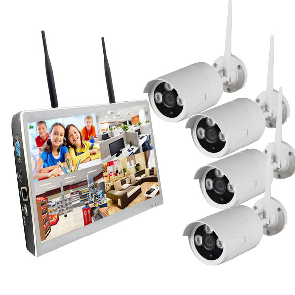 High Quality IP Cam 4chs WIFI NVR KITS With Monitor Wireless Web Camera