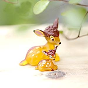 4 pcs Miniature Cute Deer Figurine Fairy Garden Deer Doe and Fawn Terrarium Accessory