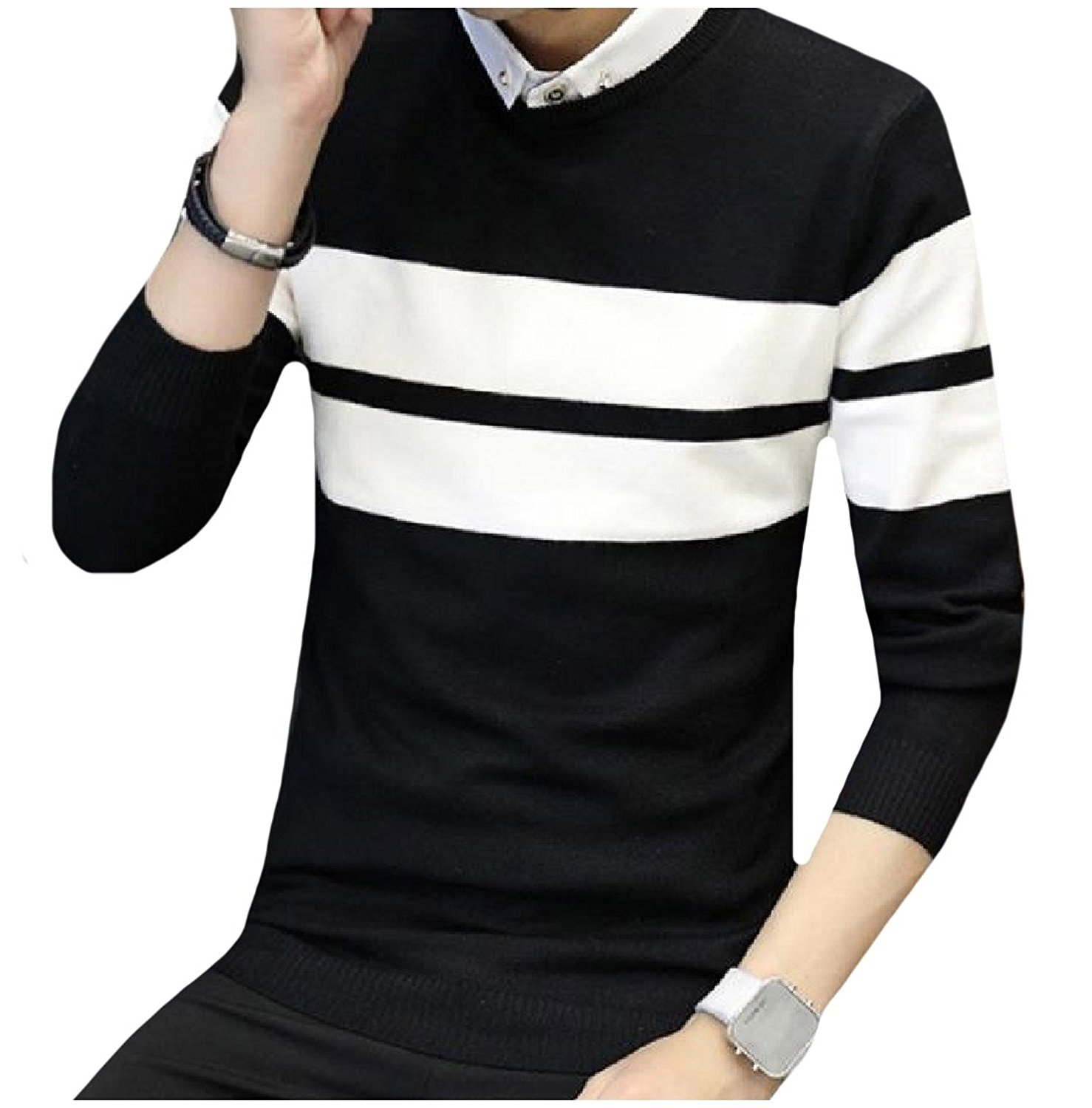 Cromoncent Mens Spell Color Knitwear Long Sleeve Crew Neck Pullover Sweaters