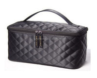 Customized Fashion Promotion Black Satin Quilted Cosmetic Bag