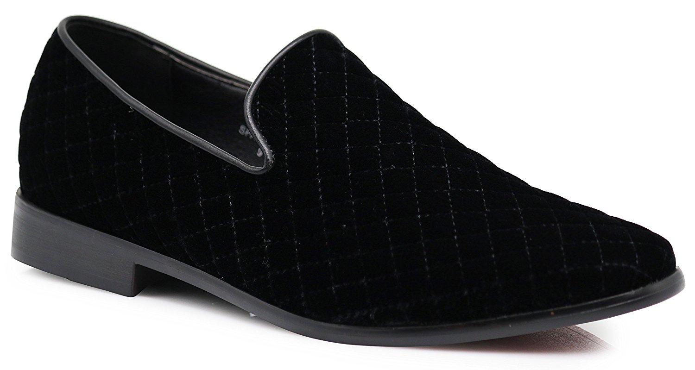 Enzo Romeo SPK02 Men's Vintage Plain Velvet Quilted Dress Loafers Slip On Shoes Classic Tuxedo Dress Shoes