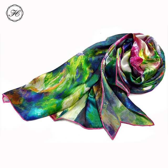ODM Free Sample Customized 100% Silk long Scarves Stoles