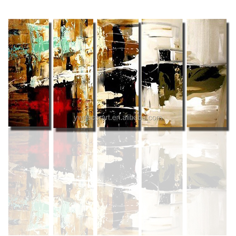 Wholesale Group Canvas Painting 5 Panels Handmade Abstract Painting For Home Decoration