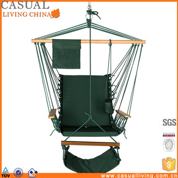 Hanging Padded Soft Cushioned Hammock Chair With Wood Armrest And Footrest