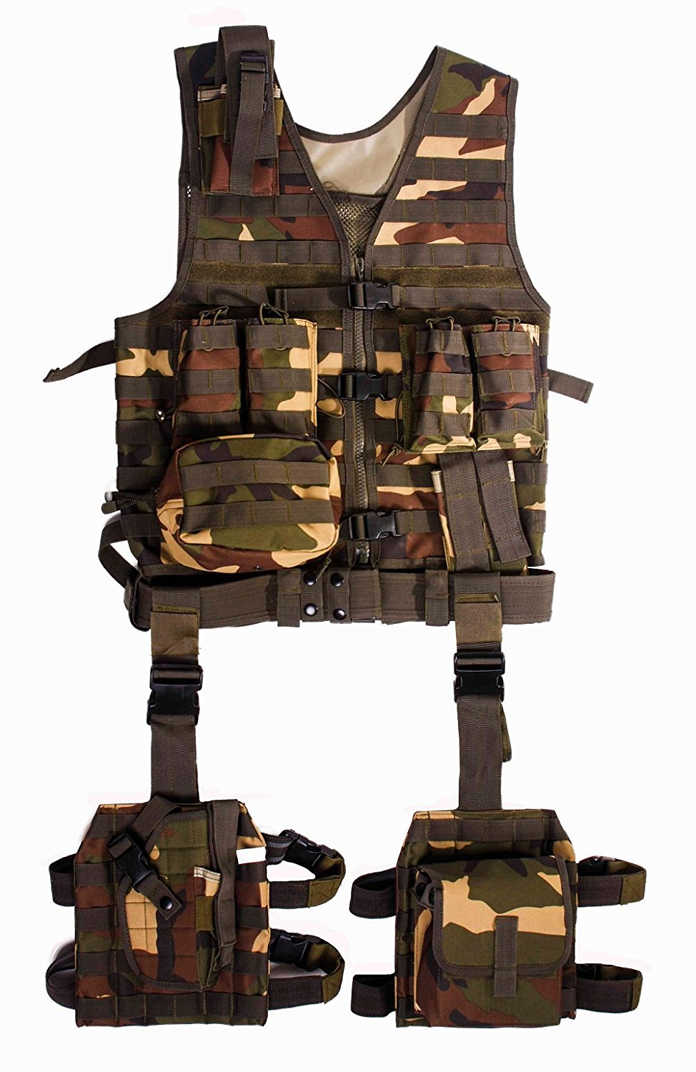 Global Sportsman Tactical Assault Combat Military Scenario MOLLE 10 Piece Ambidextrous Complete Kit Set Deluxe Modular Web Vest w/ Hydration Bladder Pocket + 2 Open-Top Double Mag Ammo Pouches + Pistol Mags + Cell Phone Radio Pouch + Adjustable Duty Belt + Medical Utility Pouch + Dropleg Pistol