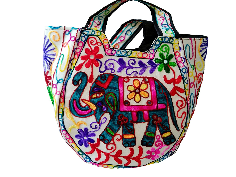 9b5412bd25ff Hippie Handmade handbags for women bohemian gypsy large tote Cotton Elephant  Embroidery boho white bag