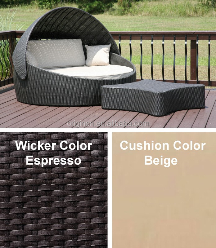 Home Leisure Wicker Round Sunbed Sunshade Outdoor Patio Single Sofa Bed Buy Single Sofa Bed
