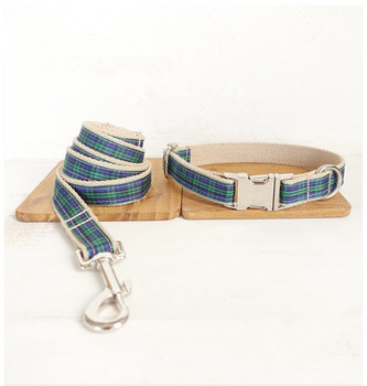 Wholesale Handmade High Quality Fashionable Plaid Dog Collars And Leashes Set