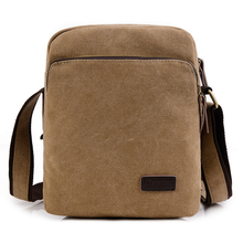 Small mens canvas documents briefcase shoulder bag