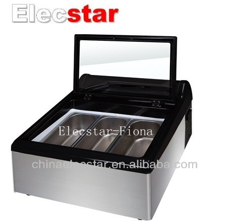 Table Top Ice Cream Freezer Illuminated By Efficient Led Light Countertop Scooping Cabinet Product