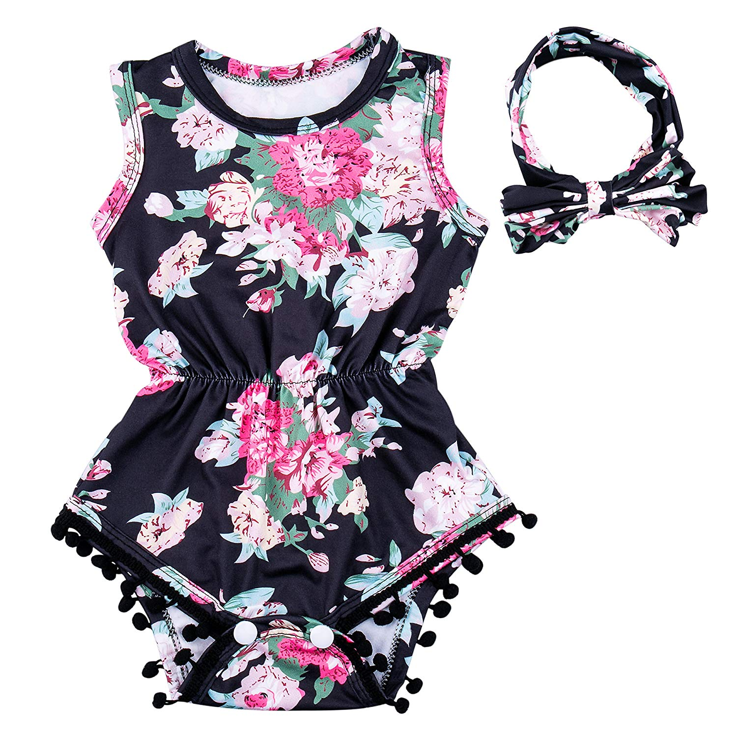 Ezire Baby Girls Romper, Apparel Baby Sleeveless Romper Outfits Set, Floral Baby Tassel Jumpsuit with Bow-Knot Headband