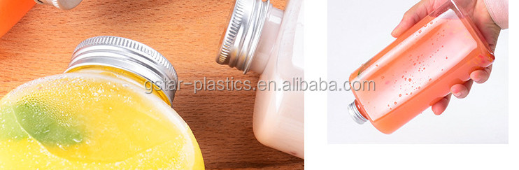 350ml 500ml Flat Juice Bottles Plastic Juice Bottles PET in Flat Shape with Screw Cap