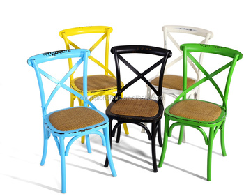 Cross Back Black Color Wooden Cafe Chairs