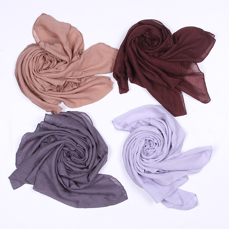 GUGUTREE 180*60cm solid color cotton Women's Fashion Long Shawl Scarf Hijab