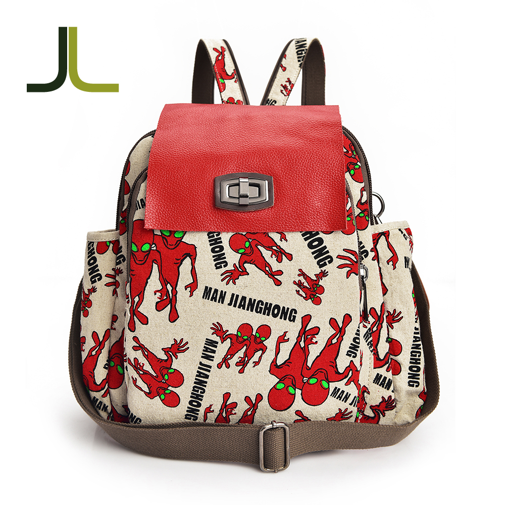 Canvas backpack bag,fashionable school bags for teens kids jute backpack bag daily backpack
