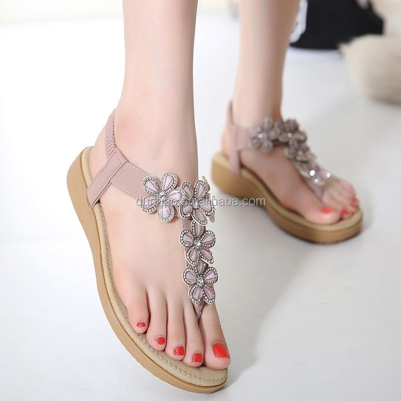 Hot Sale Latest Women Fancy Flat Sandals Ladies Shoes 2016 Summer ...