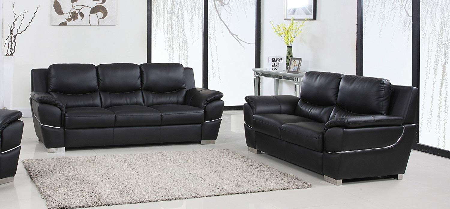 Get quotations · blackjack furniture 4572 black 2pc contemporary living room sofa and loveseat set black