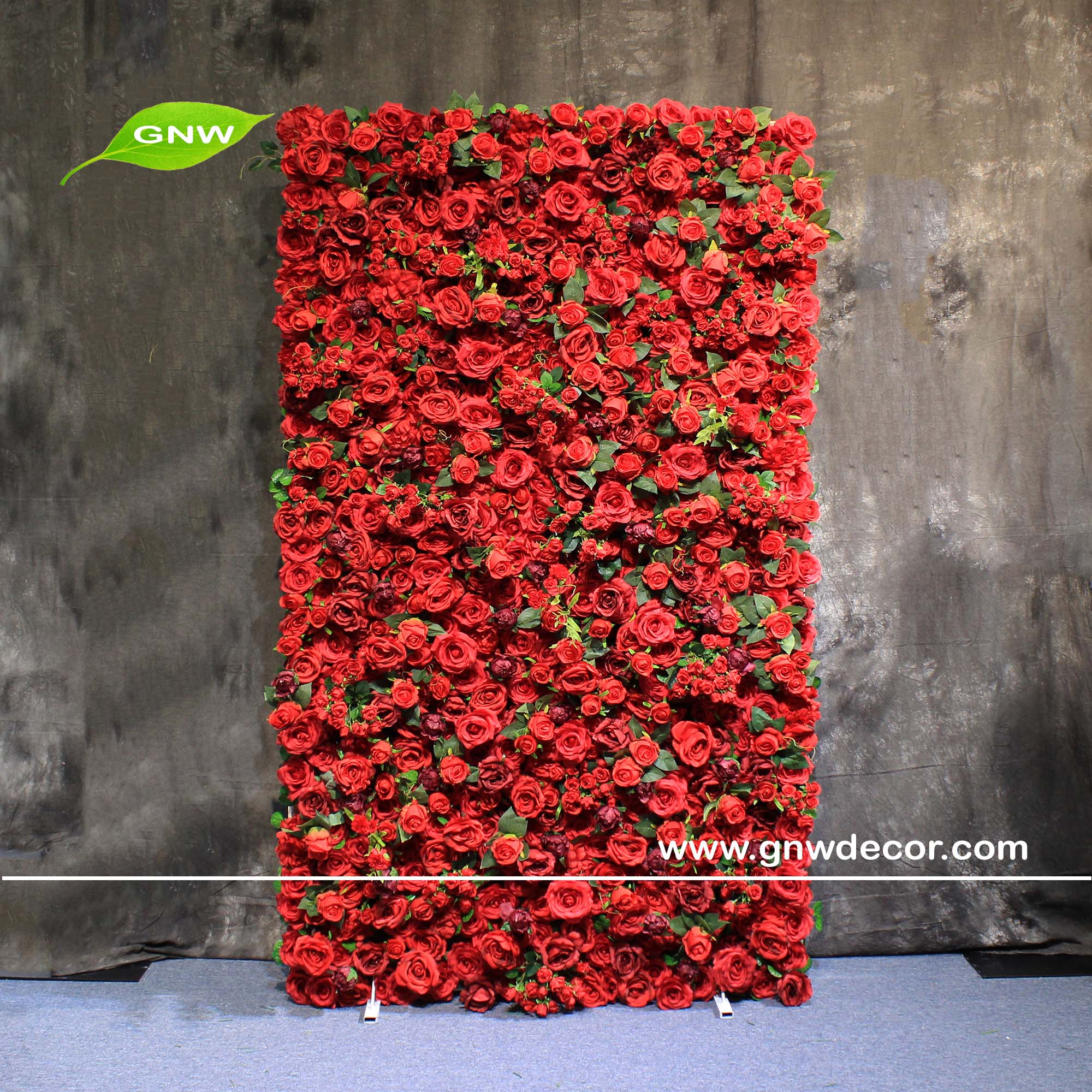 Gnw China Manufacturer Wedding Decor Backdrop Red Flower Artificial Wall For Restaurant Wall Decoration Clothing Roll Up Wall View Roll Up Clothing Wedding Wall Gnw Product Details From Gnw Technology Co Ltd