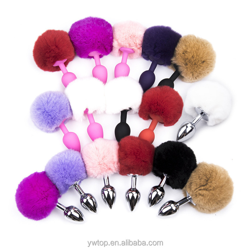 55a6cc920 Silicone Gel Fur Ball Anal Plug Tail Rabbit Tail Butt Plug Sex Toy 8colors